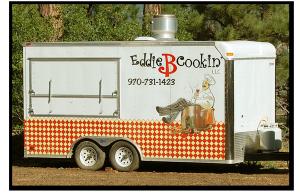 Eddie B Cookin's logoed catering trailer