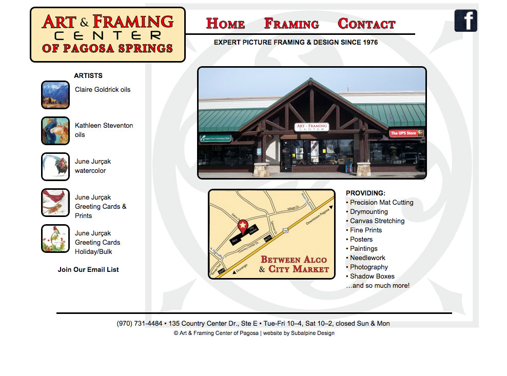 Art & Framing Center of Pagosa Springs – Subalpine Design